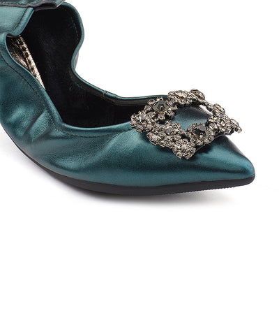 Crystal Buckle Foldable Flats Green