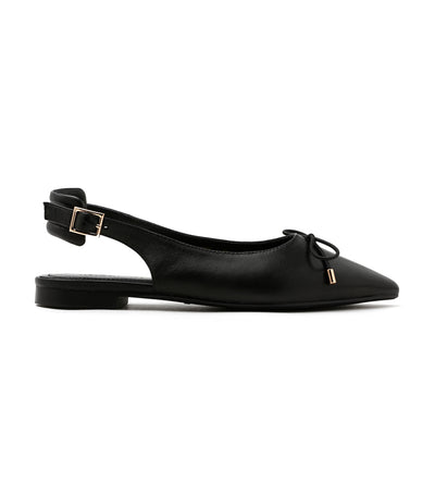 Slingback Bow Leather Pointed Ballet Flats Black