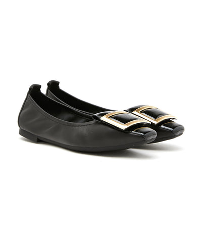 Wide Buckle Glossy Patent Leather Flats Black