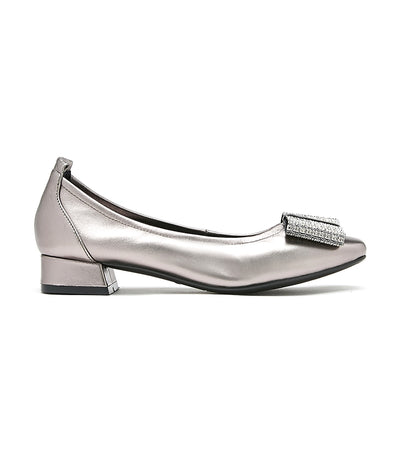 Oversized Bow Square Toe Pumps Pewter