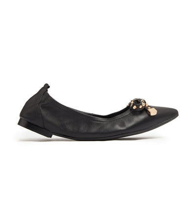 Gold-Studded Bow Leather Foldable Pointy Flats Black