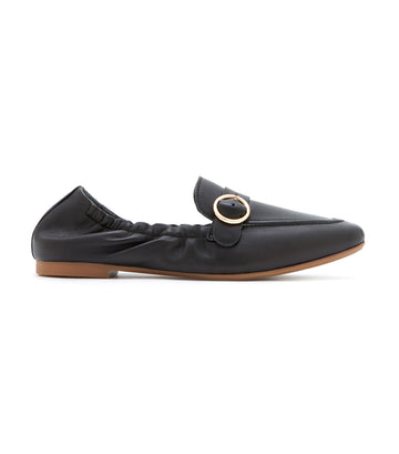 Buckle Front Loafers Black