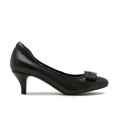Square Toe Buckle Bow Leather Heels Black