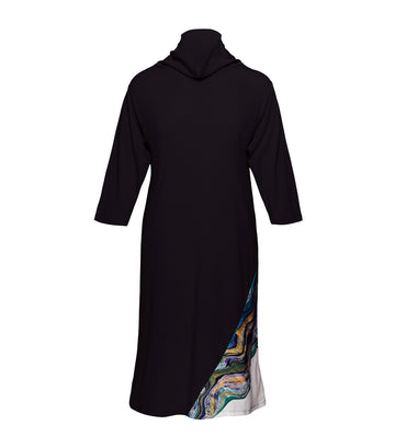 jill by jojie lloren sapphire high neck printed dress black