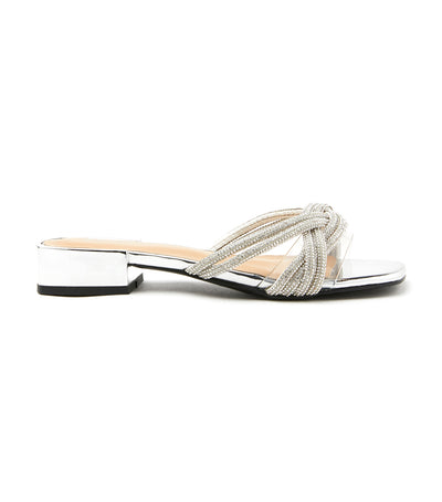 Diamante Knotted Twist Leather Slides Silver