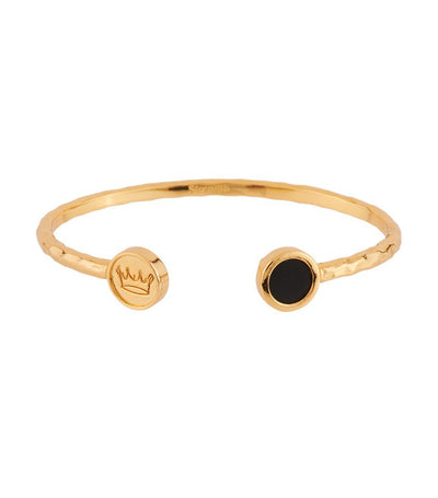 les néréides lucky bangle with strength stone and crown black