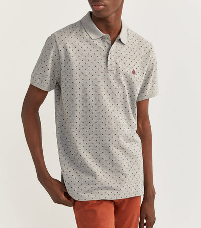 Printed Slim Pique Polo Shirt Gray