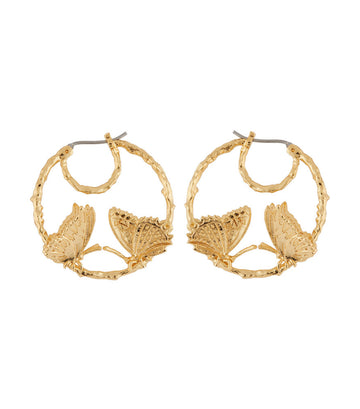les néréides butterfly duo hoop earrings