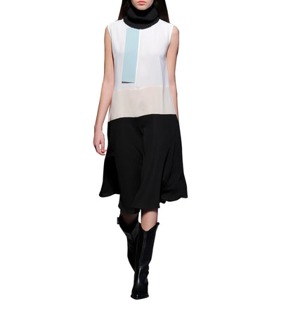Quartz Color Block Dress Black and White
