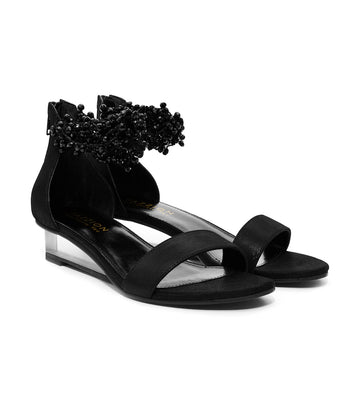 Embellished Ankle Strap Sandals Black