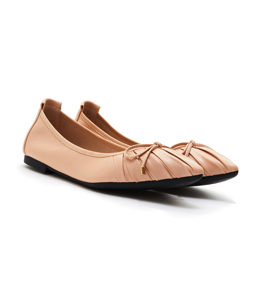 Pleated Ribbon Flats Almond