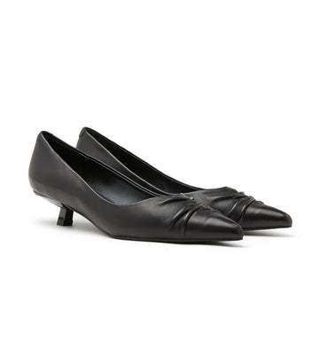 Pleated Pointy Front Leather Kitten Heels Black