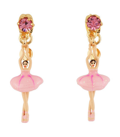 les néréides mini ballerina stud earrings pink