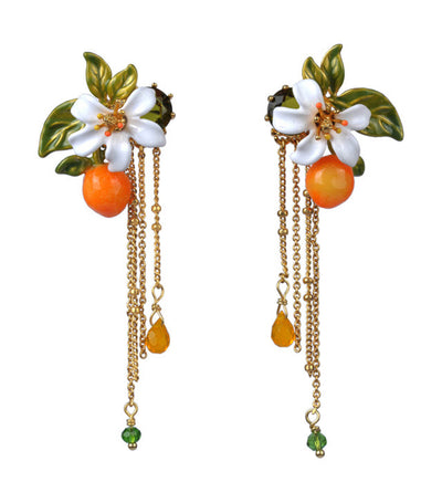 les néréides orange , orange blossom and chains stud earrings