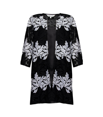 criselda dina floral laced dustcoat set black and white