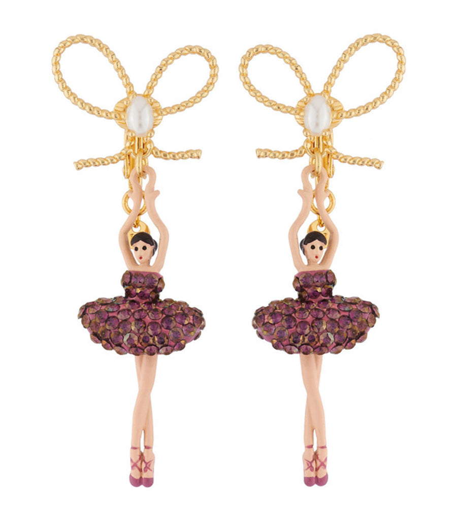 les néréides ballerina paved with rhinestones stud earrings lilac