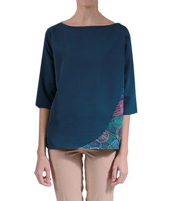 Quimby Blue Oversized Blouse With Print On Side