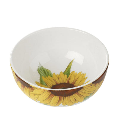 "portmeirion botanic blooms 5.5"" rimless bowl sunflower set of 4"