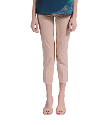 Cotee Beige Straight Pants With Side Buttons
