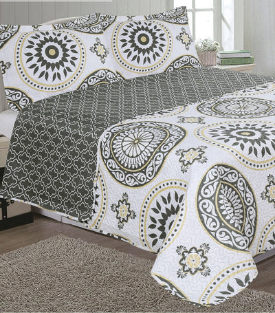 home & main charlotte printed faux quilt set king