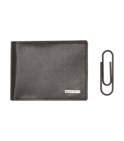 steve madden billfold with money paper clip gift set brown