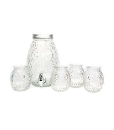 royal leerdam four-piece bubo drinking jar and one piece dispenser