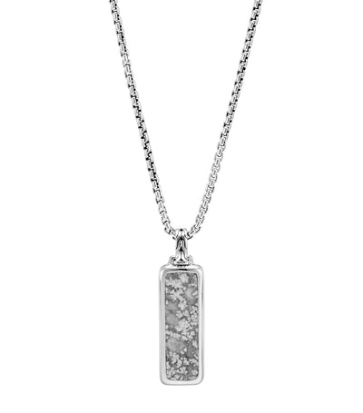 Classic Chain Silver Pendant on Box Chain Necklace with Silver Calcite