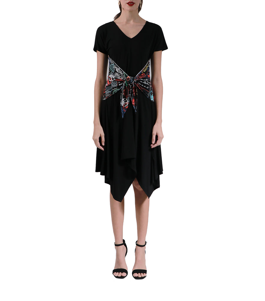 Ansari Black Flowy Dress with Printed Wrap