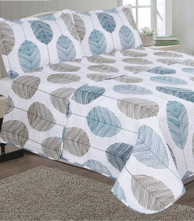 mantex candice printed faux quilt set full/queen