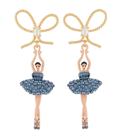 les néréides ballerina paved with rhinestones stud earrings blue