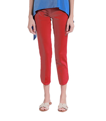 Pleonast Red Pants With Side Slit