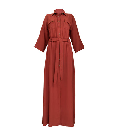 oleg cassini margaret long dress rust