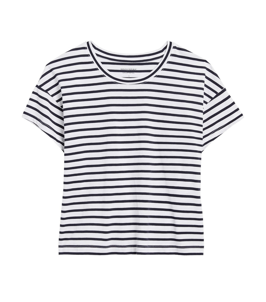 SUPIMA® Cotton Boxy Cropped T-Shirt White & Navy Stripe