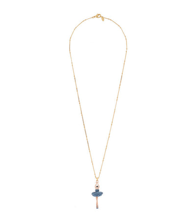 les néréides ballerina paved with rhinestones necklace blue