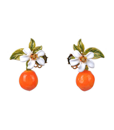 les néréides orange and orange blossom stud earrings