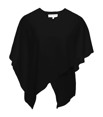 lady rustan leica asymmetrical v-neck blouse black