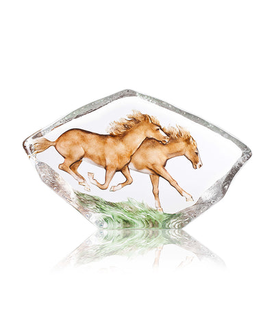 Horses Galloping Crystal Sculpture