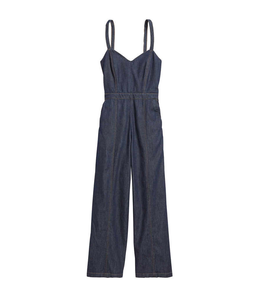 Petite Denim Sweetheart Jumpsuit Indigo