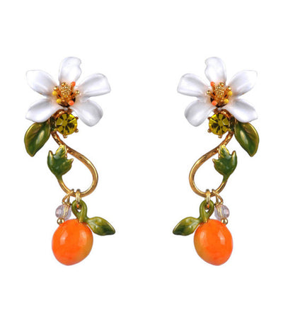 Orange And Orange Blossom Baroque Stud Earrings