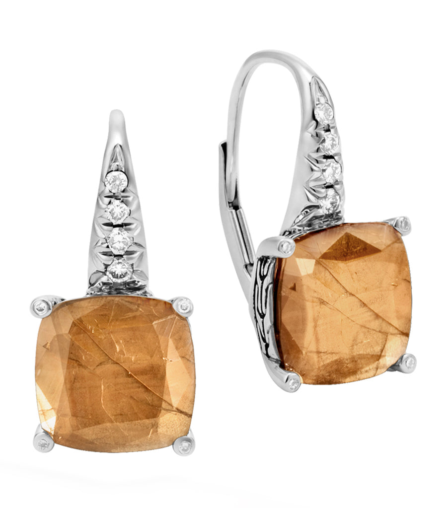 Classic Chain Silver Diamond Pavé Magic Cut Earrings with Golden Sheen Sapphire