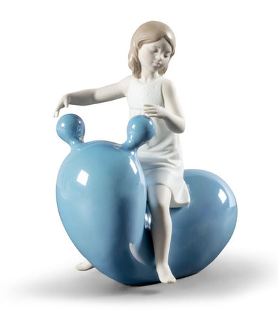 My Seesaw Balloon Girl Figurine - Blue