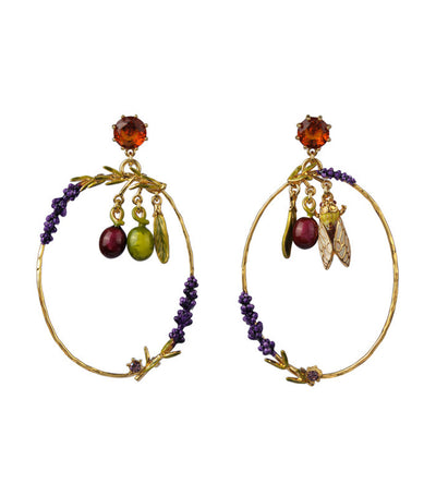 les néréides olives, cicada and lavender stud earrings