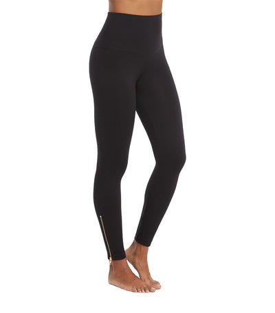 look at me now seamless side zip leggings very black