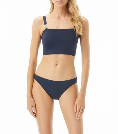 Bralette with Classic Bottom Two Piece Swimsuit Blue