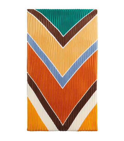 Women Pleated Geometric Scarf Yellow Gold