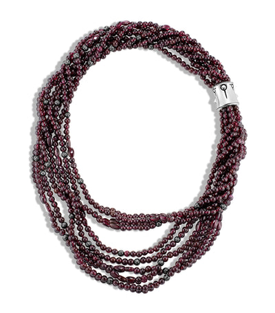 Bamboo Silver Multi-Row Necklace with Garnet Beads