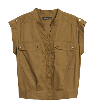 Boxy Utility Top Cindered Olive Green