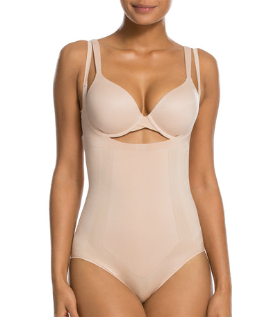 spanx oncore open-bust panty bodysuit soft nude