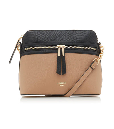 Dolive Small Color Block Zip Detail Crossbody Bag Camel