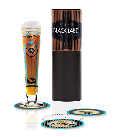 ritzenhoff black label beer glass by petra mohr